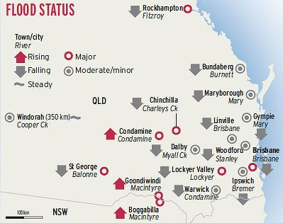 Map indicating rising and falling flood levels Sthn Qld.