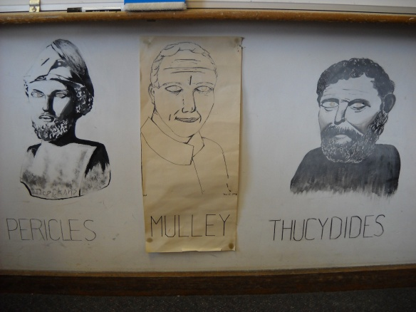 Drawing of Mr Mulley between drawings of Pericles and Thucydides