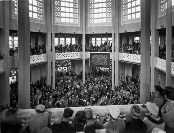 A view of the many people inside the Sydney Baha'i Temple 1961