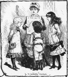 Sketch of woman holding book and 3 children standing in front of her looking at it.
