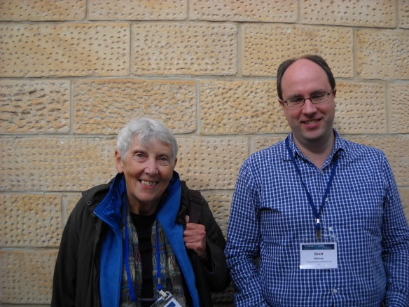 Jill Roe standing next to Brett Holman at the Australian Historical Association conference in Adelaide, 2012.