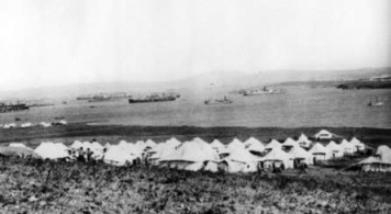 The tents of the No. 2 Australian Stationary Hospital where McNaughton worked on Lemnos. (Photo C02097 Australian War Memorial)
