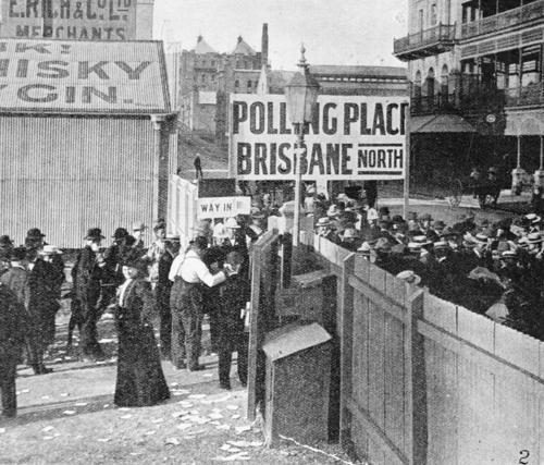 Women inside the gate of the city polling station, voting for the first time in a Queensland state election, May 1907. State Library of Qld