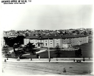 Old black and white photo of the buildings and area surrounding the Benevolent Asylum.