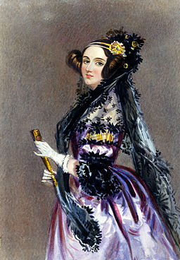 Painting of Lovelace wearing a purple Victorian-era dress and Victorian-era fancy hairstyle.