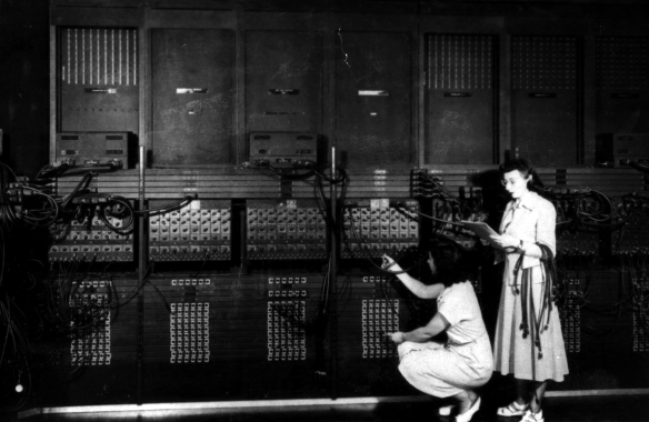 Ruth Lichterman (left) and Marlyn Wescoff (right) programming the ENIAC machine. Source: U.S. Army Photo from the archives of the ARL Technical Library