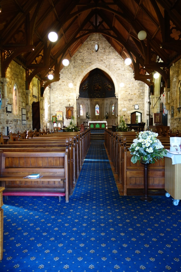 View inside the church from the back to the front.